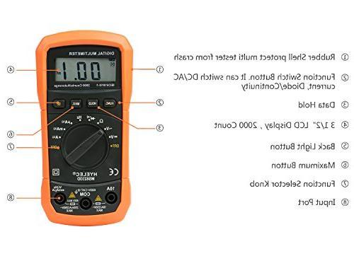 Crenova Auto-Ranging Digital Multimeter Home Measuring with LCD Display